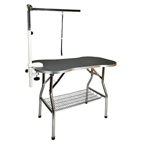 Flying Pig Heavy Duty Stainless Steel Pet Dog Cat Bone Pattern Rubber Surface Grooming Table Flying Pig Grooming Dog Grooming Adjustable Height Table