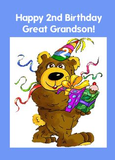 Great Grandson 2nd Birthday Bear 465820
