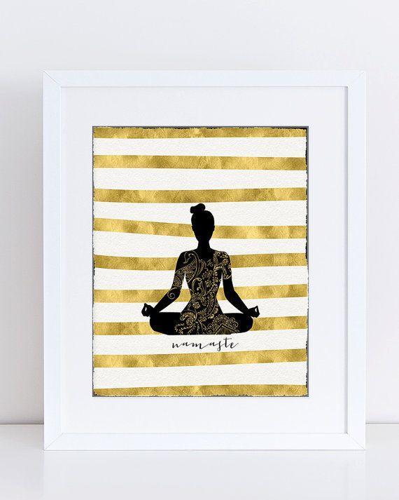 Black and Gold Decor, Yoga Poster Digital, Contemporary Home Decor ...
