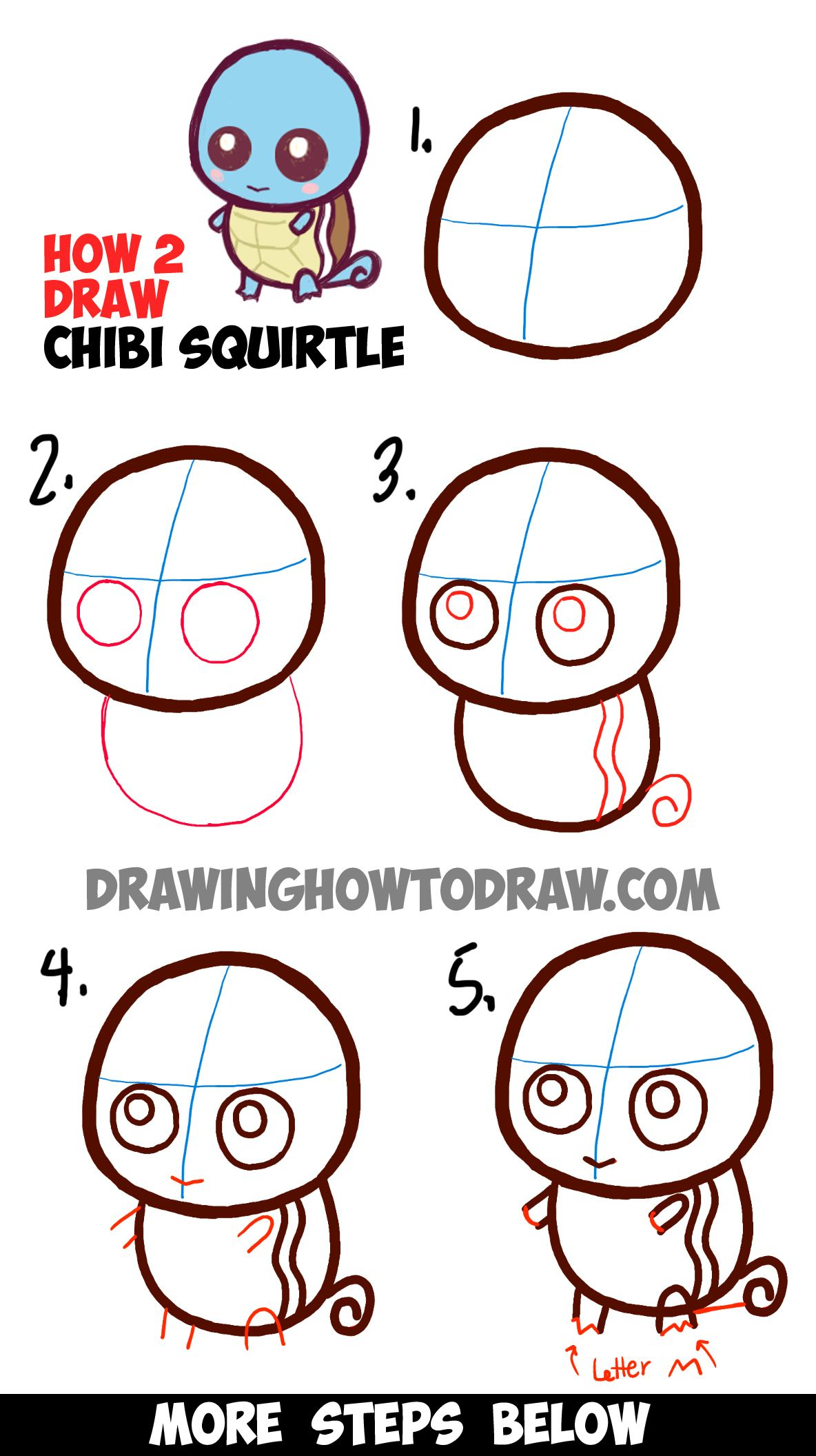 How To Draw Cute Baby Chibi Squirtle From Pokemon Easy Step By Step