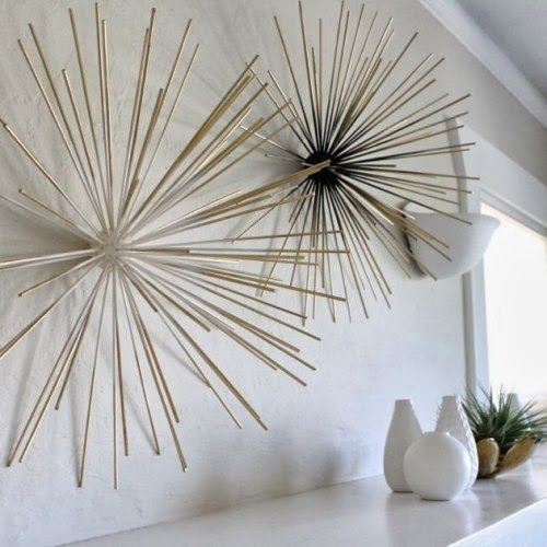 easy bamboo interior decoration. DIY project  bamboo sticks wall art projects ideas