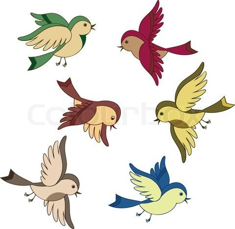 Set Of Flying Bird Cartoon Stock Vector Flying Bird Drawing Cartoon Birds Bird Drawings