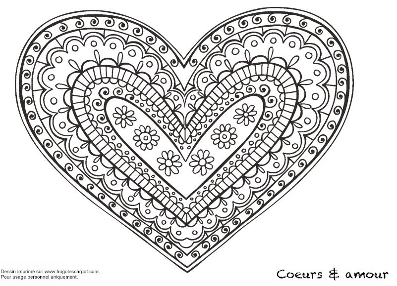 Coloriage Mandala Cœur & Amour - Hugolescargot.com | Doodles ...