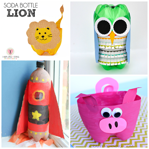here are a bunch of creative soda bottle crafts for kids