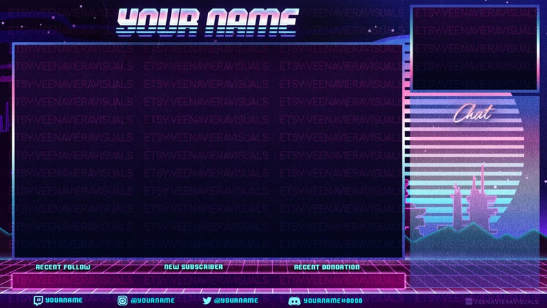 Facebook and Youtube Vaporwave Stream Overlay Set for Twitch