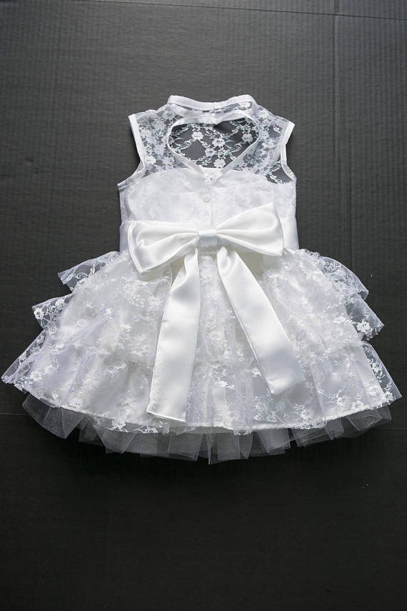 0818d5d0db Flower Girl Dress Dress made out of white atlas and lace fabric is perfect  for any special occasion  wedding