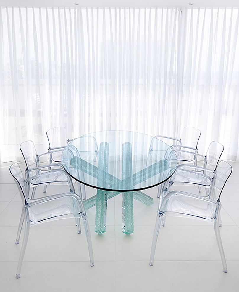 Clear Dining Room Table Bright Acrylic Chair Vogue Other Metro Contemporary Dining Room