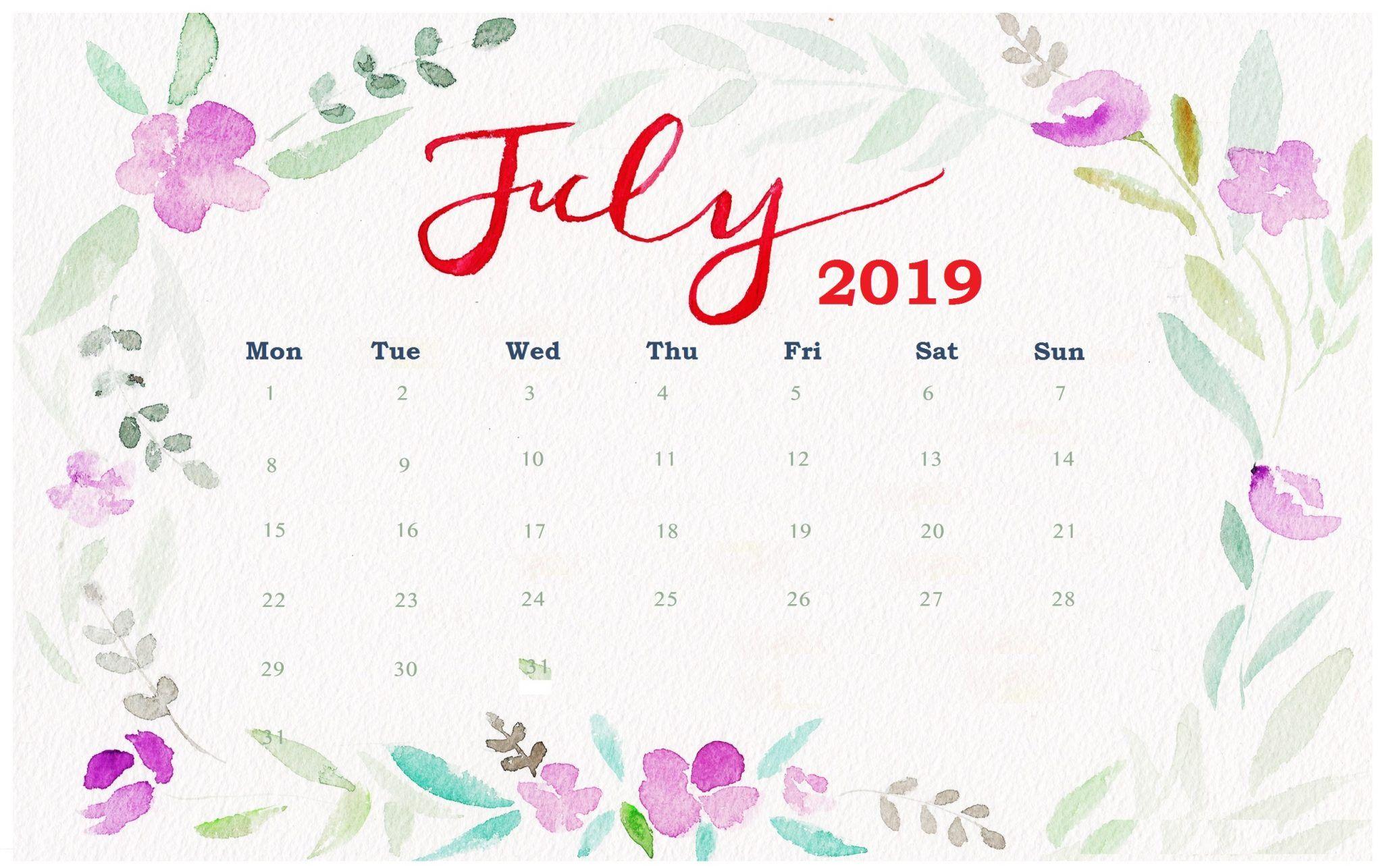 Watercolor July 2019 Desk Calendar Desktop Wallpaper Calendar Calendar Wallpaper Desktop Calendar