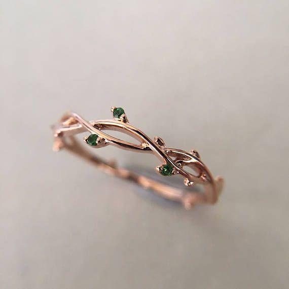 Photo of 0.03 Carat Emerald Band Emerald Ring Rose Gold Band Rose Gold Ring Tree Branch Ring Tree Branch Band