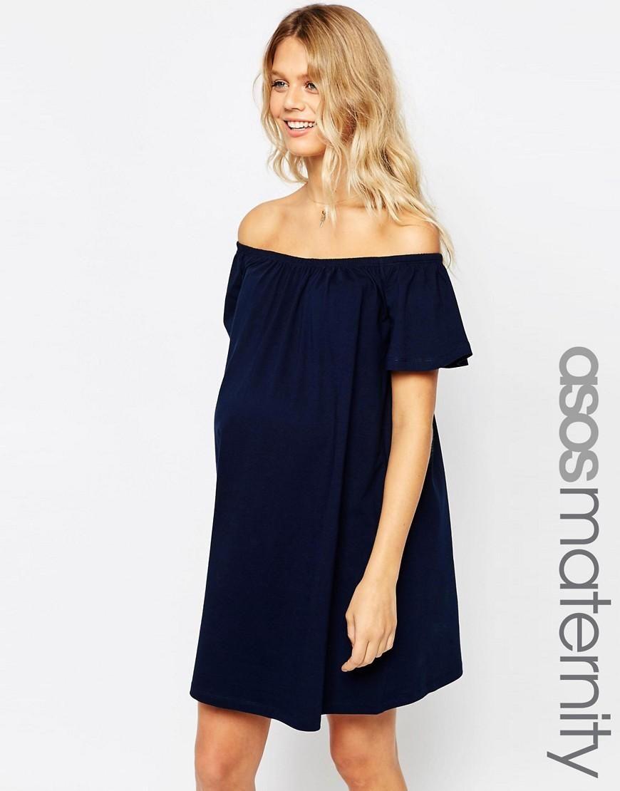b97a2712946a ASOS Maternity | ASOS Maternity Off Shoulder Mini Dress at ASOS ...