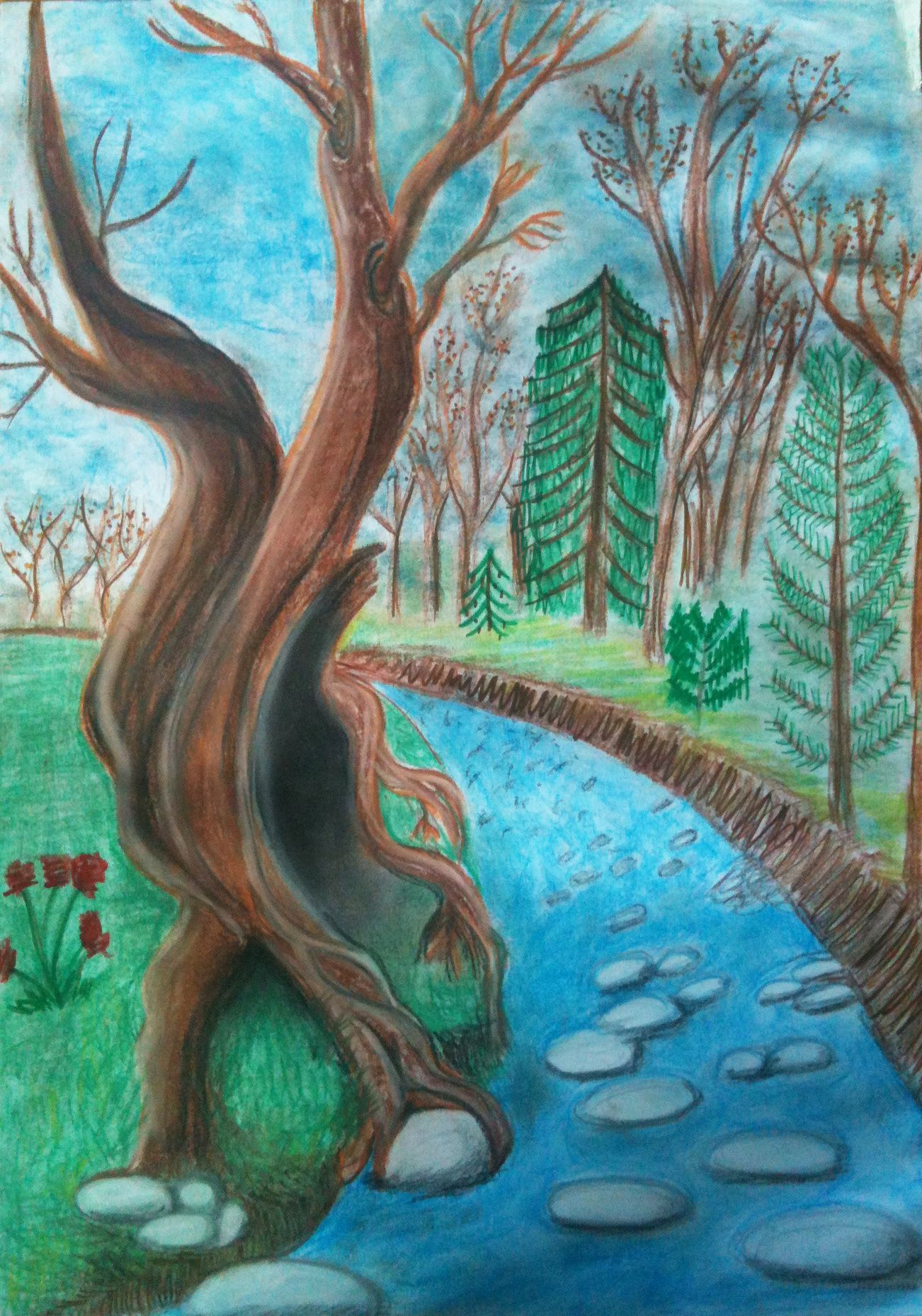 Trees Beside A River Tree Drawing Pencil Drawings Of