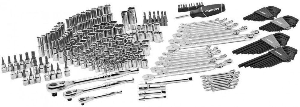 Husky 268 Piece Mechanics Combination Chrome Sockets Wrenches Hand