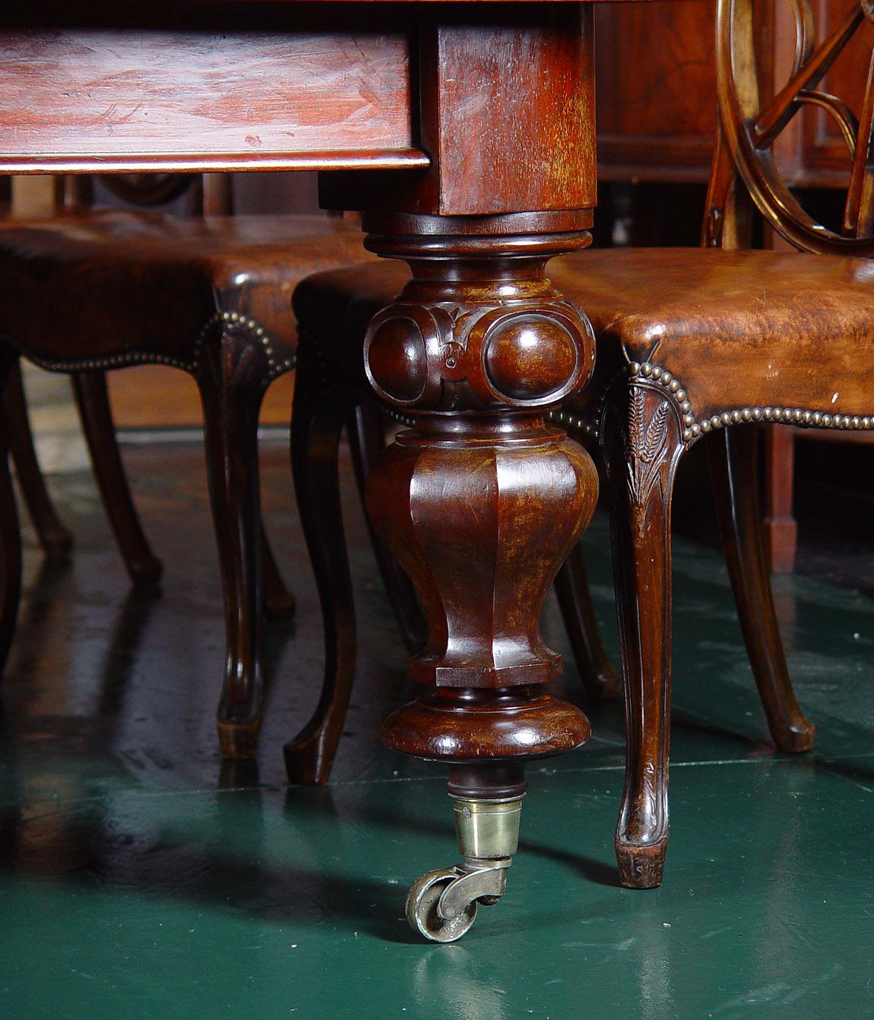Ampliación de madera de caoba de estilo victoriano mesa de comedor ...