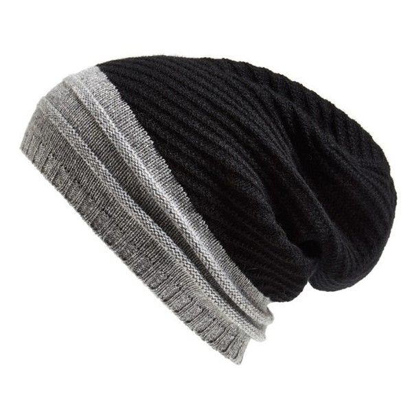 0b04aa928c0f7 Echo Cashmere Colorblock Beanie ( 98) ❤ liked on Polyvore featuring  accessories