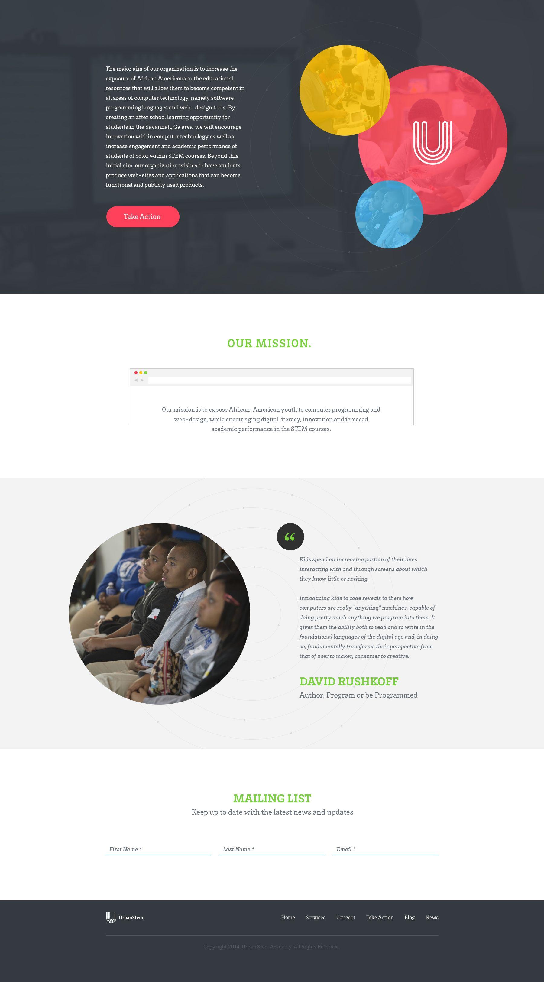 urban stem academy our mission by myles kedrowski web design