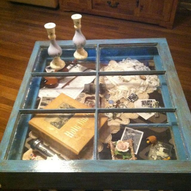 Handcrafted Coffee Table/shadow Box For Sale. Made Out Of