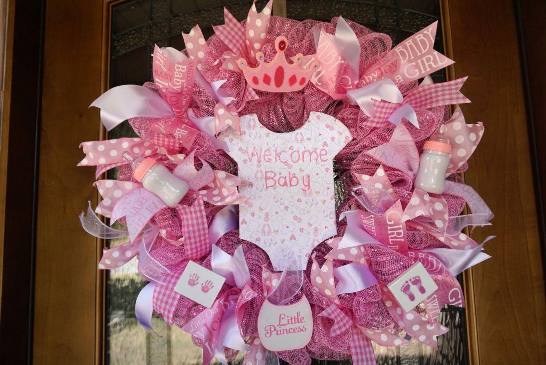 Hospital Door Hanger New Baby Welcoming Wreath Baby door hanger Made to Order It/'s a Girl Baby Shower Decoration Monogram Wreath