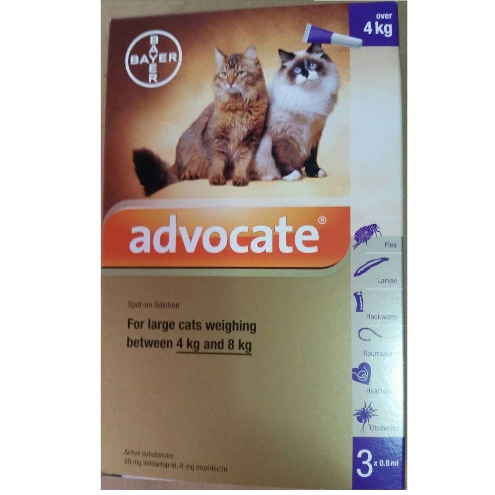 Advocate 3 X 0 8ml Spot On Flea Worm Control Cats 4 8 Kg Free Ship Track Advocate