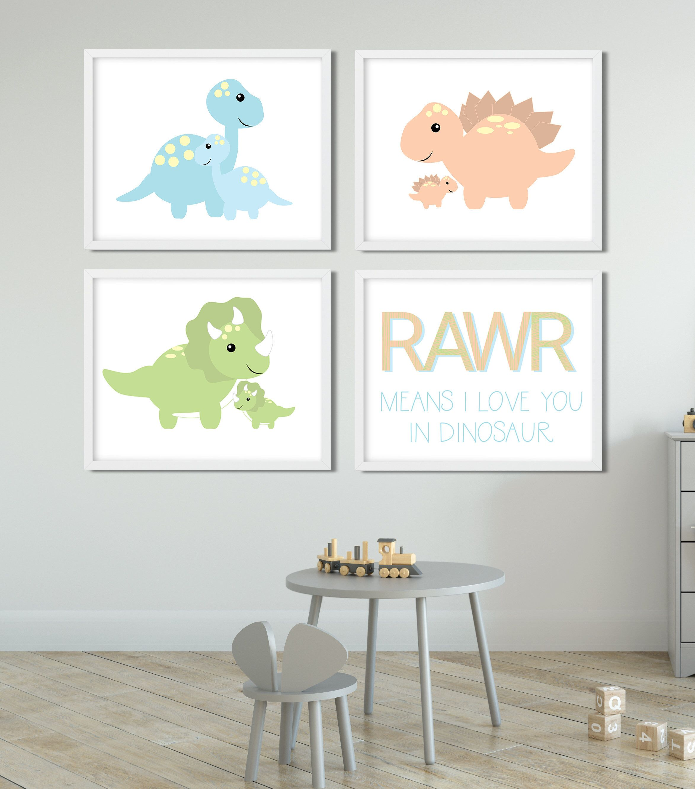 Set of 4 Printable Dinosaur Nursery Wall Art