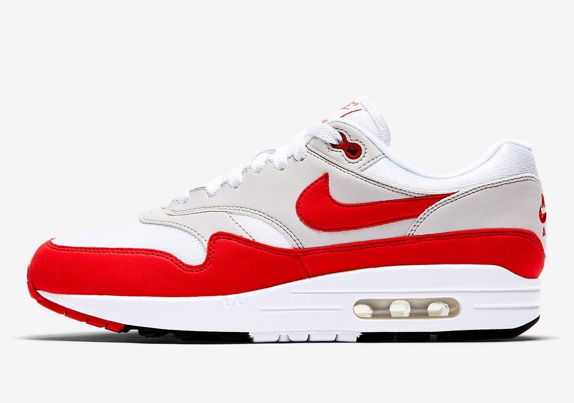ef2c904b2662 Nike s Air Max 1 Anniversary dressed in a sporty combination of University  Red and White with Neutral Grey panelling is one of the most popular  in-line ...