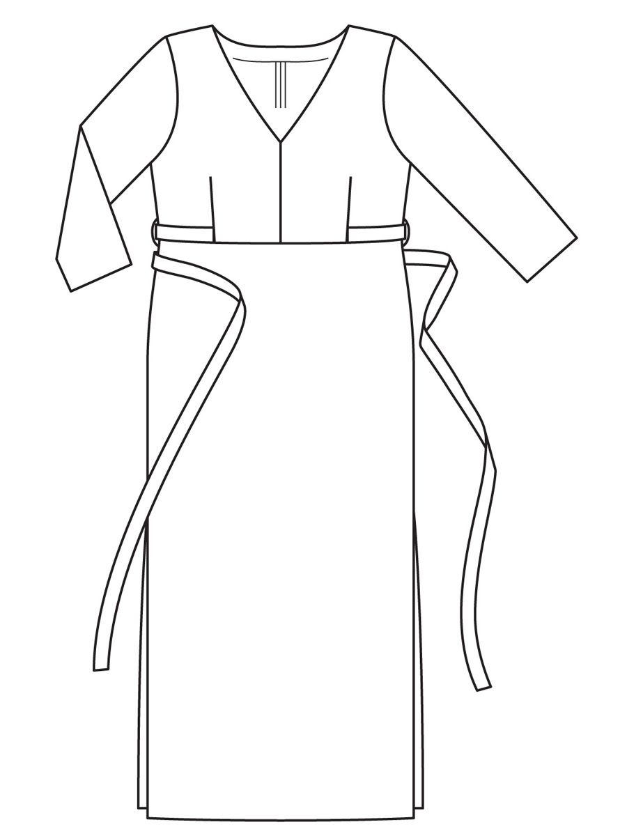 d9e70a11efc Платье с глубоким v-образным вырезом - выкройка № 412 B из журнала 1 2017  Burda. Мода для полных – выкройки платьев на Burdastyle.ru