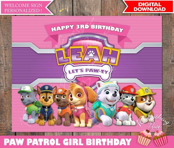 Paw Patrol Theme Pink Happy Birthday Sign Personalized