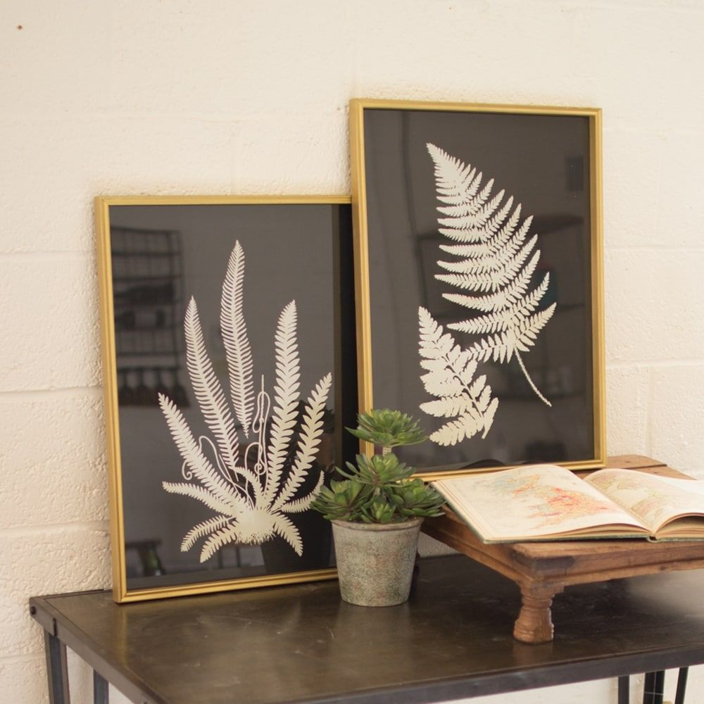 6ee6207c8e02 Shop Kalalou CHH1183 Black and White Fern Prints Under Glass (Set of ...
