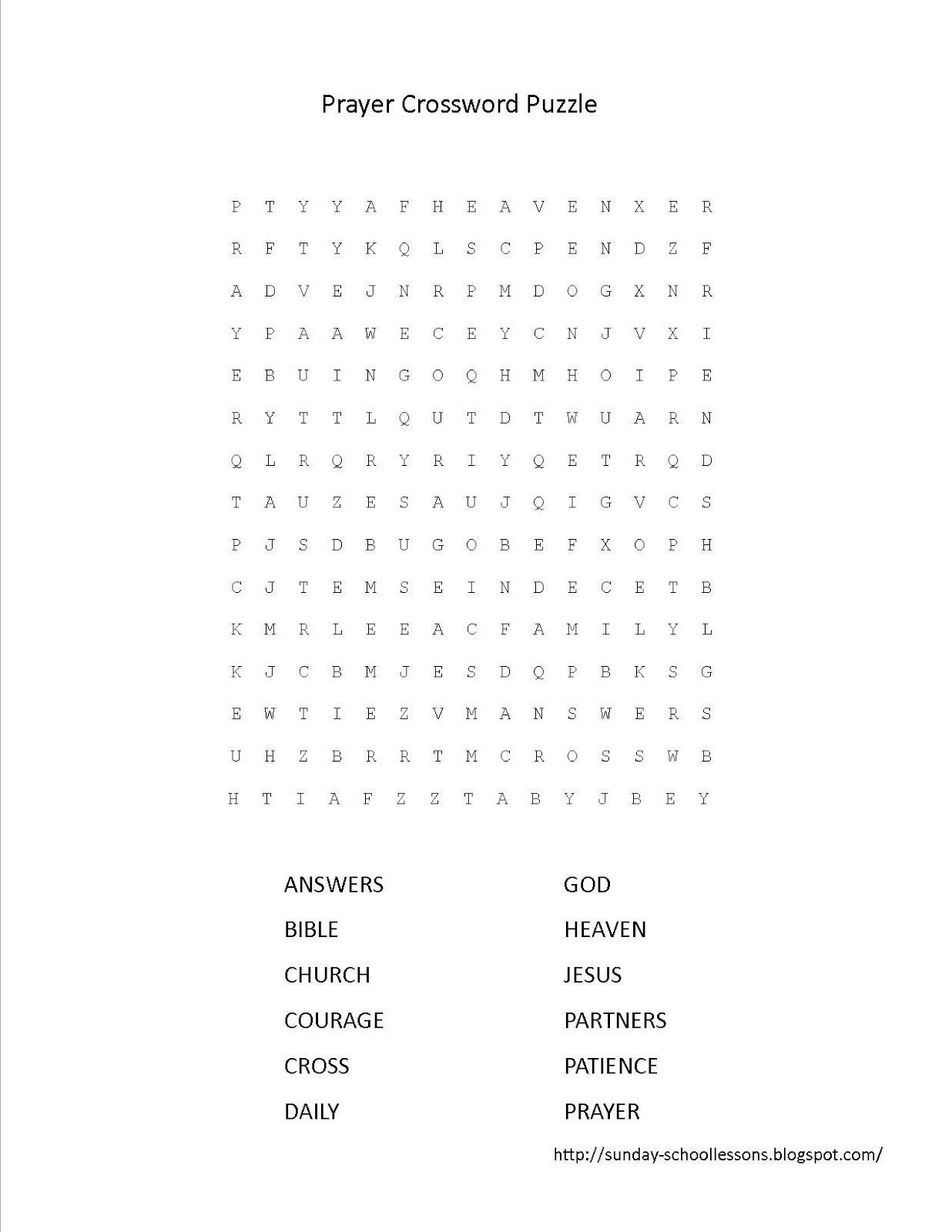 Prayer Crossword Puzzle With Images