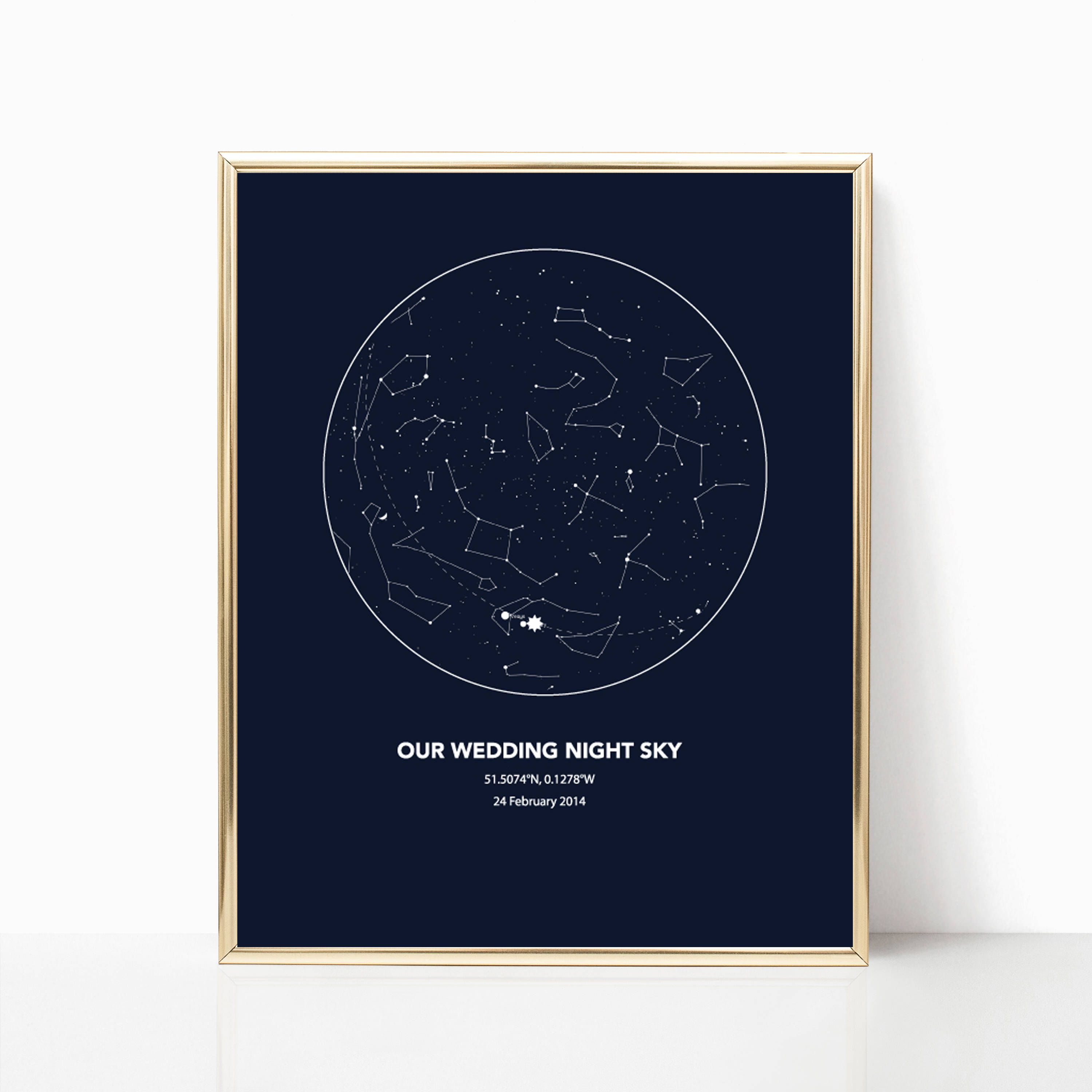 Wedding Night Gift For Wife: Constellation Map, Custom Wedding Anniversary Sky Map