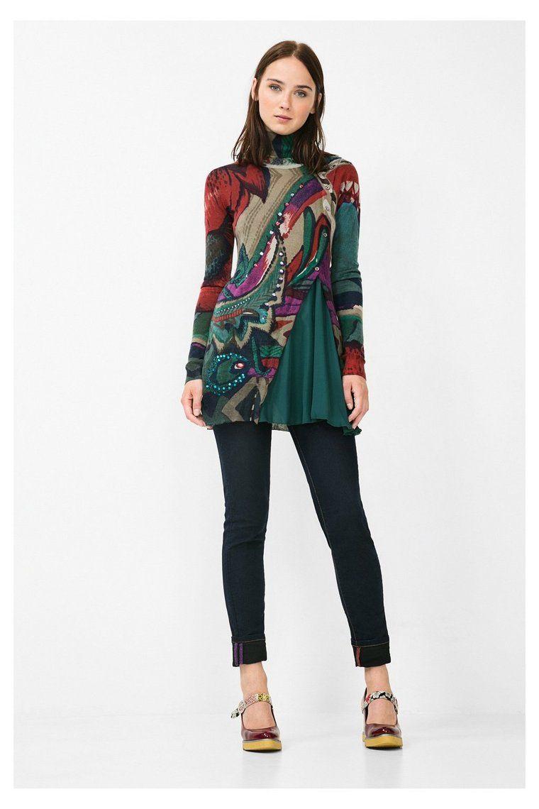 Jersey verde de cuello alto | Desigual.com