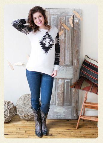 Year of Magic Aztec Sleeve Top - www.amavoboutique.com - Women's Online Clothing Boutique