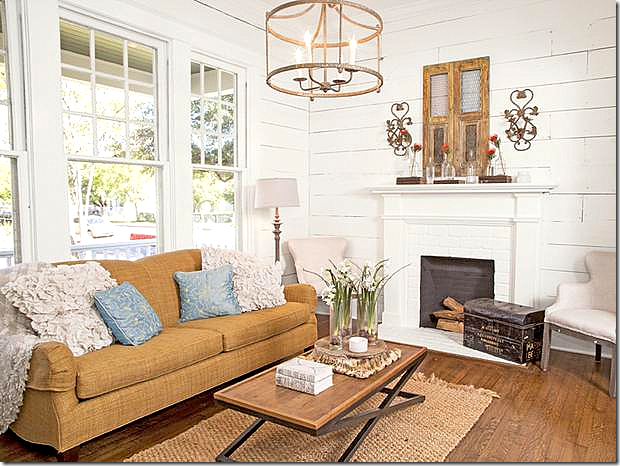 Joanna gaines sofa rug chandelier whole room home for Living room designs by joanna gaines