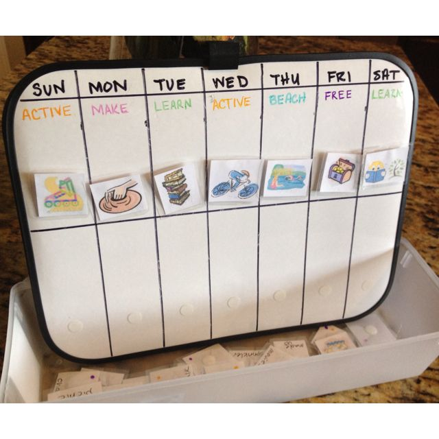 Summer kids schedule calendar- dollar tree dry erase Permanent