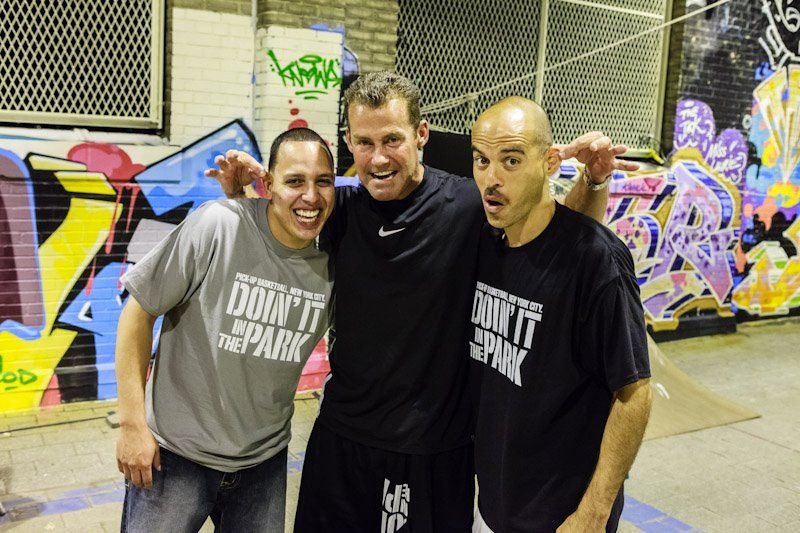 SNEAKERS FOR SUCCESS 6/28/12. (L-R) Cast members Kenny Rodriguez (Harlem Globetrotters), Jack Ryan, and co-director Bobbito Garcia. Photo: Jonathan Lopez  https://www.facebook.com/doinitinthepark