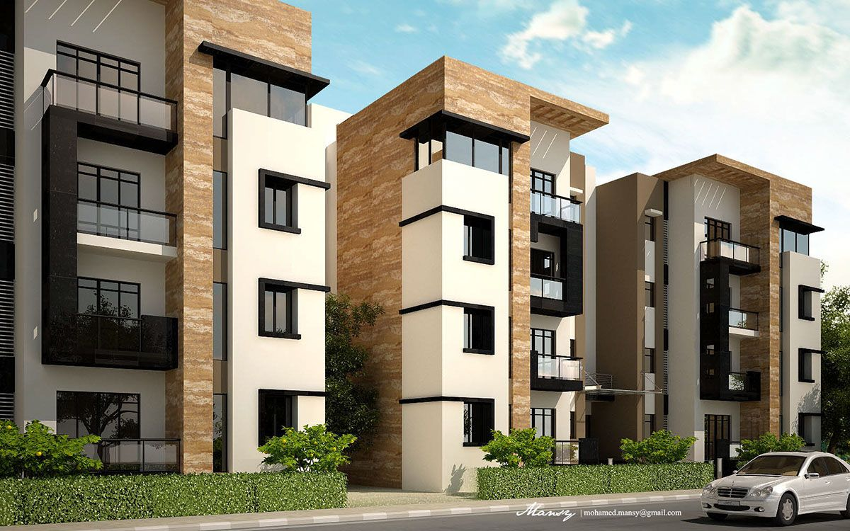 Architectural Residential Elevation : Kattameya plaza on behance apartman mİmarİsİ cepheler