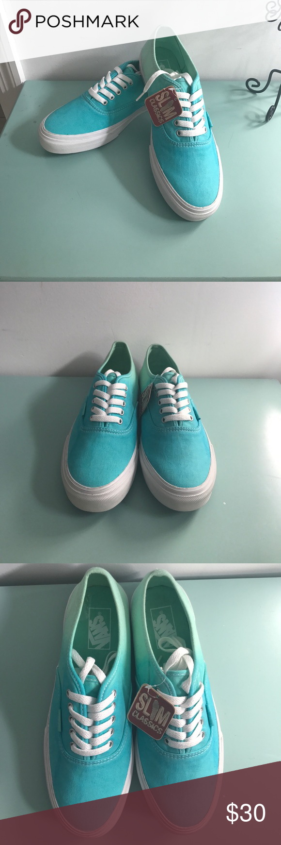 9e1a4f311a70 Vans ombré slim classics women s 9 NWT Turquoise blue fades to mint green  very cool 😎 vans Vans Shoes Sneakers