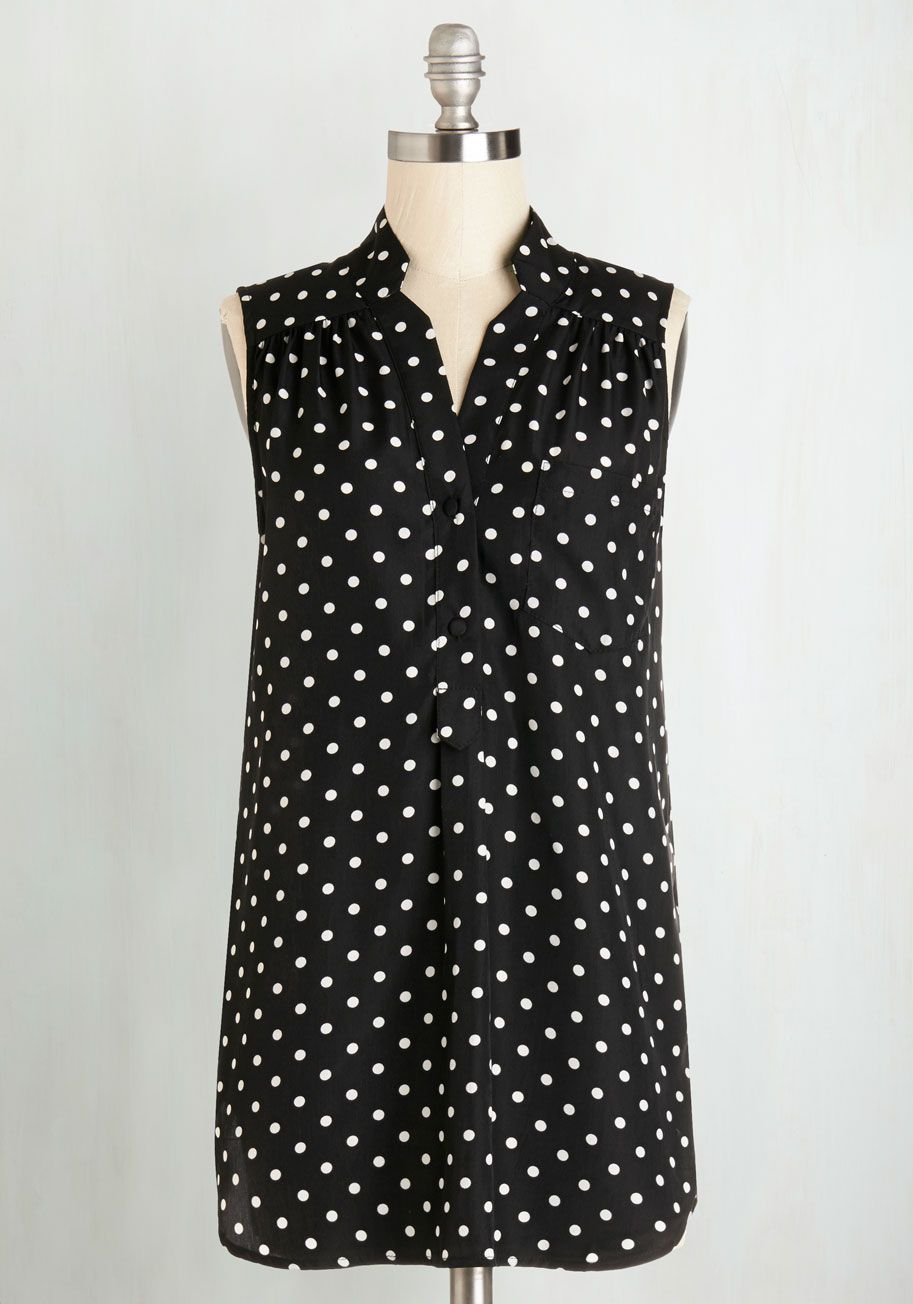 Girl about Scranton Tunic in Polka Dots by Myrtlewood - Long, Black, Polka Dots, Work, Sleeveless, Exclusives, Variation, Black, Sleeveless, Casual, White, Buttons, Pockets, Best Seller, Spring