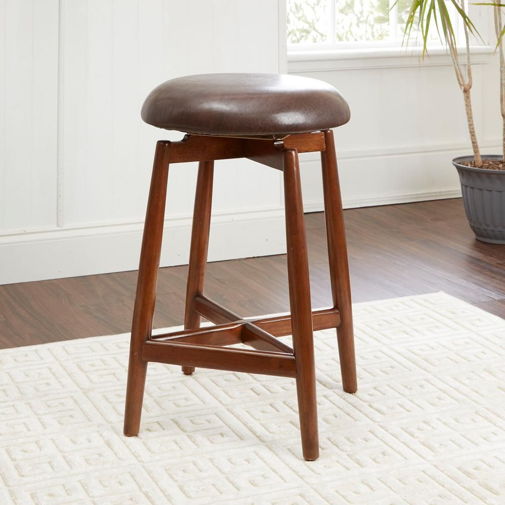 Silverwood Dover 24 In Brown Upholstered Saddle Bar Stool Swivel Bar Stools Bar Stools Upholstered Bar Stools