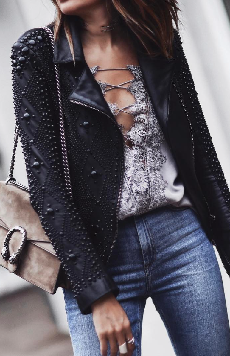 embellished leather jacket Fashion leather articles at 60