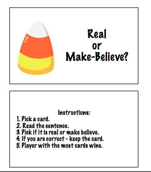 Halloween Language Games: Real or Make-Believe & Fact or Fiction ...