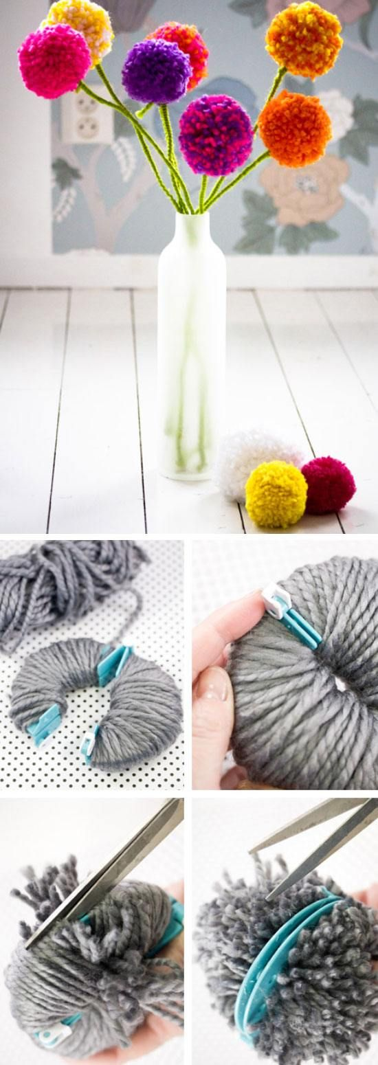 20 DIY Mothers Day Craft Ideas for Kids to Make | Pom pom flowers ...
