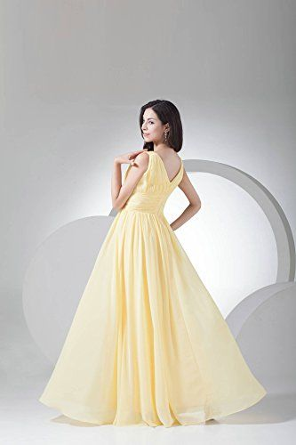 Diyouth V-neck Bridesmaid Chiffon Prom Dresses Long Evening Gown ...