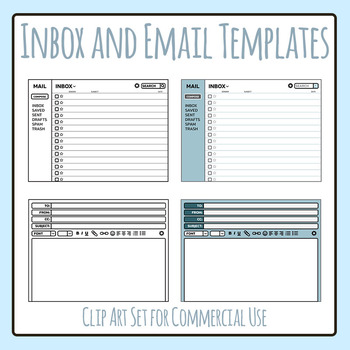 Email User Interface Templates / Layouts Clip Art Set for Commercial ...
