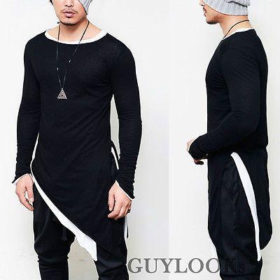 Avant-garde Mod Mens Unbalance Diagonal Cut Triangle Cuff Round Long Tee Guylook