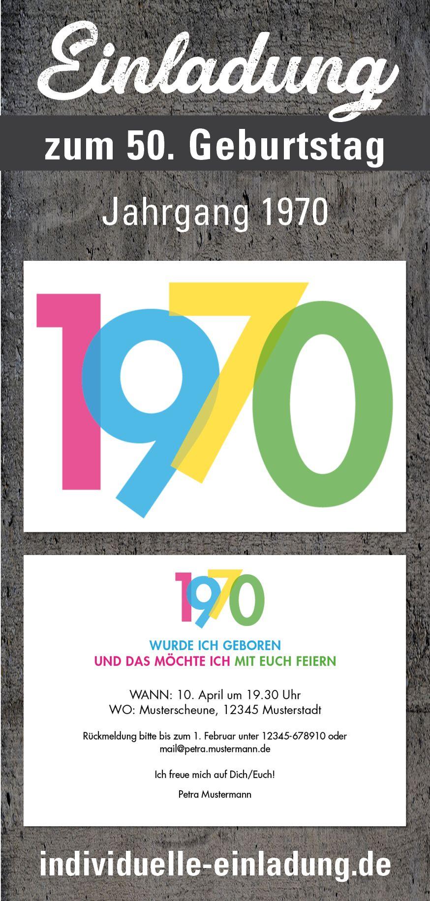 Einladungskarte Zum 50 Geburtstag Jahr 1970 Transparente Bunte
