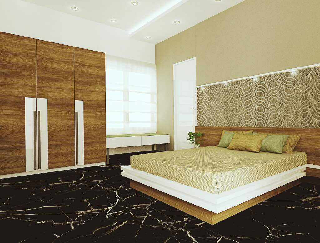 Bedroom Design With Wardrobe And Cot Wood And Black Living Room