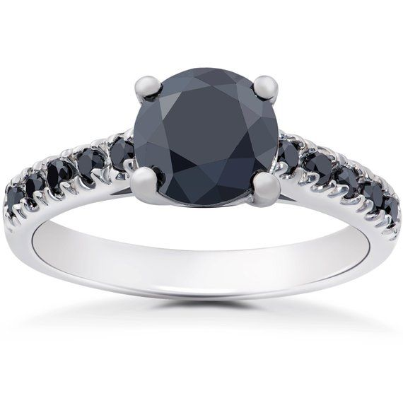 Black Diamond Engagement Ring, Black Diamond Ring, Diamond