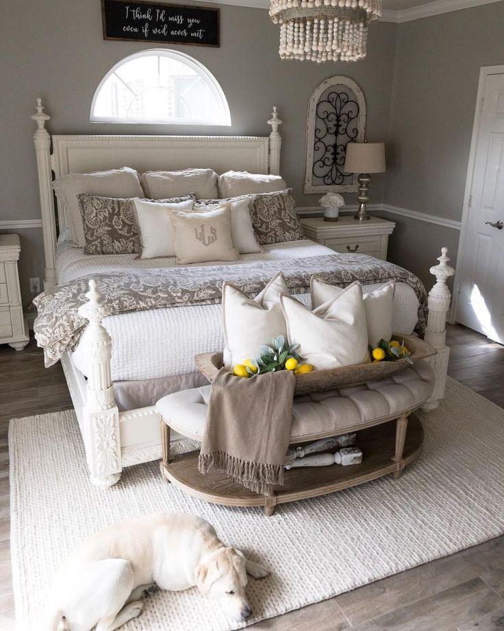 40 Cozy Farmhouse Master Bedroom Decorating Ideas Master Bedrooms Decor Remodel Bedroom Chic Master Bedroom