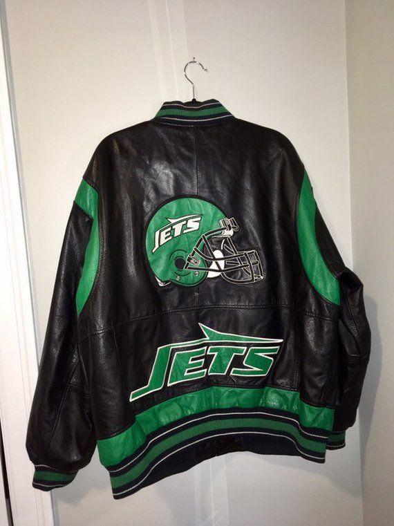 best service 714c1 e5431 Vintage New York Jets Leather Varsity Jacket Size XXL Green ...