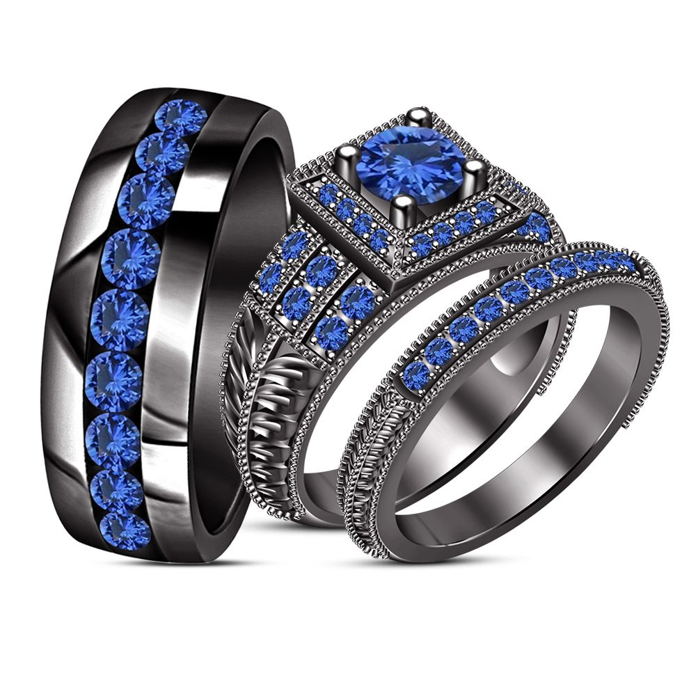His & Her Engagement Ring Trio Set Blue Sapphire Black